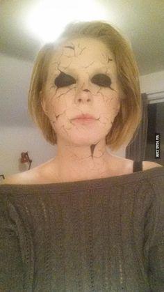 Creepy broken doll makeup