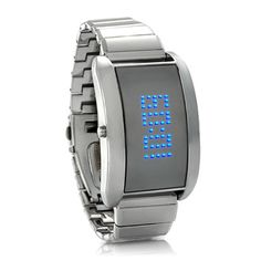 Metal Alloy LED Watch with Scrolling Text Blue Fiction