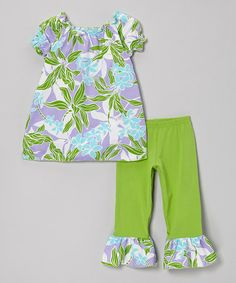 Another great find on #zulily! Green Tropical Peasant Top & Ruffle Capri Pants - Toddler & Girls by Cheeky Banana #zulilyfinds