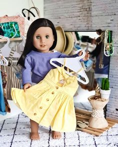 Eden finally chose her outfit, a lovely buttery golden custom made dress by in dedication and hope of bringing a… Modern Fashion Outfits, New Outfits, American Girl Diy, American Dolls, Ag Dolls, Girl Dolls, Jojo Siwa, Girl Doll Clothes, Girl Pictures