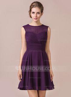 A-Line/Princess Scoop Neck Knee-Length Chiffon Bridesmaid Dress With Ruffle (007054331) - JJsHouse