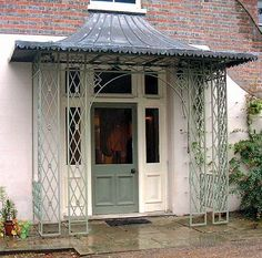 The Hampton Court Project - Traditional lead canopy with open support columns retains the country style of this property Front Door Canopy, Porch Canopy, House Front Door, House Entrance, Georgian Architecture, Architecture Details, Metal Door Awning, Cottage Shutters, Diy Awning