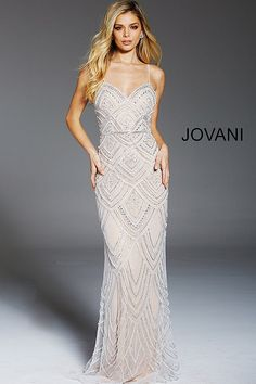 Jovani Prom 60653 2020 Prom Dresses, Pageant, Homecoming and Formal Dresses - Girli Girl Jovani Wedding Dresses, Fitted Prom Dresses, V Neck Prom Dresses, Jovani Dresses, Beaded Prom Dress, Beaded Gown, White Beaded Dress, Long White Lace Dress, Great Gatsby Prom Dresses