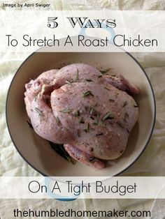 One of the most frugal homemaking practices I've adopted is roasting a whole chicken each week. Check out these 5 ways to stretch a roast chicken on a tight budget!