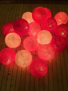 20 x Sweet Pink Shade cotton ball string light for decor ,bedroom, wedding, party, garden,lamp,lantern