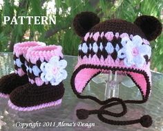 Crochet PATTERN Set  Bear Hat and Baby Booties  by AlenasDesign