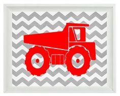 Construction Dump Trucks Art Print Set - Boy Room Nursery Chevron Red Gray - Wall Art Home Decor 8x10 Print on Etsy, $15.00