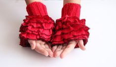 Fingerless Gloves Hand  Knit elegant ruffled by HirasuAccessories, $20.00