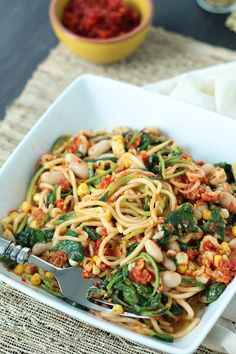 Sun-dried Tomato Pesto Zucchini Pasta with Spinach, Beans and Corn- yummy minus the corn