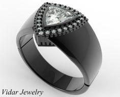 Mens Wedding Band 14K Black Gold 1 Carat Diamond Unique Diamonds Wedding Ring,Black Gold Wedding Ring,Unique Wedding Ring For Mens,Trillion