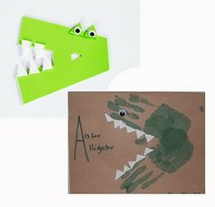 A and C's ABC Adventure: A is for Apple and Alligator - Top Trends Alphabet Crafts, Alphabet Art, Letter A Crafts, Alphabet Activities, Crocodile Craft, Aquarium Craft, Zoo Phonics, Footprint Crafts, Handprint Art