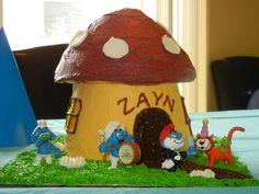 smurf house cake - used the wilton giant cupcake pan