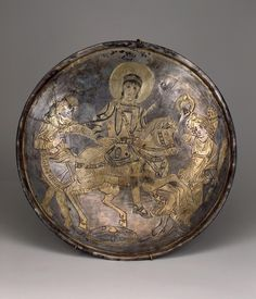 Dish with the Depiction of Emperor Constantius II. Place: Russia (now Ukraine). Date: Mid-4th century BC. Place of finding: Bosporan Necropolis, vault on the Gordikov estate. Archaeological site: Crimea, the Town of Kerch. Material: silver.