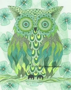 "Whimsical Owl Painting Archival Print 8 X 10 ""Elfrida"""