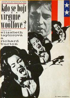 WHO'S AFRAID OF VIRGINIA WOOLF Amazing Original Czech Poster ELIZABETH TAYLOR