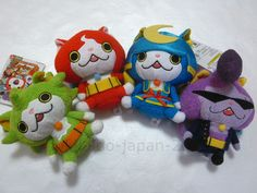 NEW Yokai Watch Jibabyan Warunyan Kuttari Stuffed Soft Plush Doll 4pcs Set JAPAN