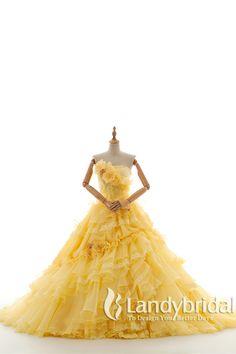 カラードレス イェロー 黄色 プリンセスライン オーガンジ スパンコール vj0179-y ¥52,000