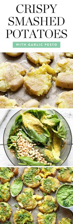 Get the recipe for these tasty Crispy Smashed Potatoes with Garlic Pesto by Minimalist Baker, and more of the best dairy-free Thanksgiving side dish recipes. #thanksgivingsides #thanksgiving #dairyfree #smashedpotatoes #potatoes #potatorecipes #sidedishes #recipes #vegan #veganrecipes #glutenfree