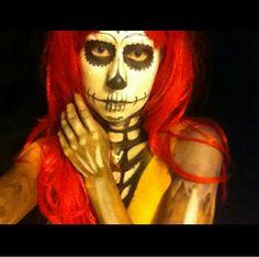 Jack and Sally inspired sugar skull makeup #makeup #nightmarebeforechristmas #sugarskull #halloween
