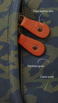 Handcrafted in our Toronto leather factory from high-quality camo leather from a tannery in the north of Italy. Leather Factory, Toronto, Camo, Italy, Handbags, Personalized Items, Collection, Camouflage, Italia