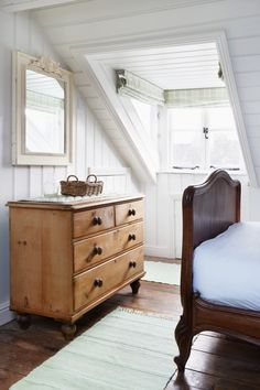 Wonderful garret bedroom, perfect pine chest of drawers.