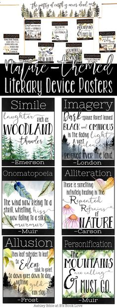 Nature-themed literary device posters: Perfect for English teacher classroom decor! Beautifully illustrated literary device posters.