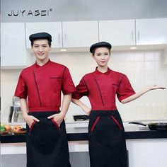 Summer Restaurant Restaurant Uniformed Skimmed Men And Women Similar Chef Uniforms Classic Restaurant Uniforms, Restaurant Restaurant, Chef Work, Black White Red, Late Summer, Men And Women, Work Wear, Latest Fashion, Store