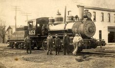 """This week's photo from the Ionia County Historical Society archives began as part of the collection at the then Hall-Fowler Library. It shows Pere Marquette engine 453 with five men standing alongside. On the back is written, """"Apr. 30, 1913. Mills, P. Wieczoreck, CJ Humphrey, S. Truesdale, Fred Williams. Ionia, Mich."""" COURTESY PHOTO"""
