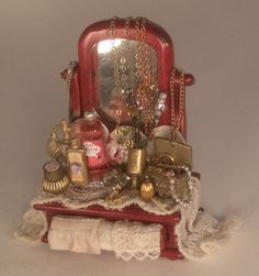 Vanity Mirror Display by Serna Sheridan - $133.00 : Swan House Miniatures, Artisan Miniatures for Dollhouses and Roomboxes