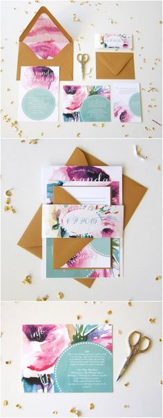 Dotty Floral Watercolor Wedding Invitation Suite