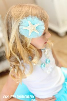 Starfish and Blue Aqua Tulle Hair Clip - mermaid party