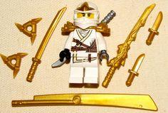 Lego Ninjago Golden Dragon Sword   LEGO NEW WHITE ZANE ZX MINIFIGURE NINJAGO NINJA GOLDEN DRAGON SWORD