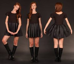 By alis new colection, clothes handmade in italy. Pliseè faux leather skirt and fit top. Www.byalis.it