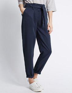 Tencel® Utility Peg Leg Trousers | M&S