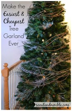 Christmas Tree Decorating #HolidayHome, DIY Tree Garland - Create the EASIEST and CHEAPEST Christmas Tree Garland Ever! Adds volume and texture to your tree. #H… Cheap Christmas Trees, Woodland Christmas, Primitive Christmas, Merry Little Christmas, Xmas Tree, Rustic Christmas, Outdoor Christmas, Christmas Tree Decorations, Christmas Holidays