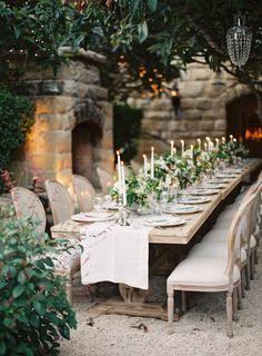 Intimate summer wedding. Lovely candlelight.