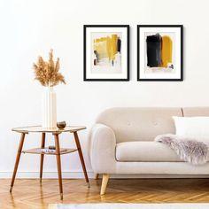 Mustard and Grey Abstract Wall Art Set, Set of 2 Abstract Prints, Framed Abstract Wall Art Set, Mustard Yellow Minimalist Wall Art Mustard Sofa, Mustard Yellow, Abstract Wall Art, Abstract Print, Abstract Paintings, Handmade Frames, Living Room Art, Wall Art Sets, Sheffield