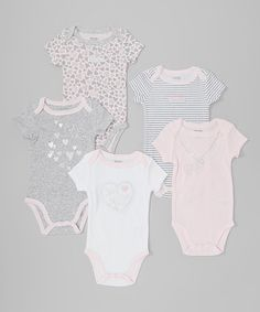 Take a look at this Gray & Pink Heart Bodysuit Set - Infant on zulily today!