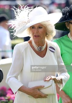 Camilla, Duchess of Cornwall in the parade ring during Royal Ascot 2017 at Ascot Racecourse on June 20, 2017 in Ascot, England.  (Photo by Chris Jackson/Getty Images)