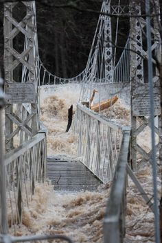 """""""Flood waters of the River Dee demonstrating their force by buckling Cambus O'May Bridge"""" Suspension Bridge, Cumbria, Lake District, Brooklyn Bridge, Picture Video, Scotland, River, Adventure, Places"""