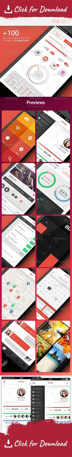 3d, analytics, app, button, calculator, calendar, chat, color, elements, flat, gallery, green, icon, iphone, map, menu, message, music, orange, page, player, profile, slider, switches, task manager, text, ui, web All the elements you need to create awesome app, just open the PSD file and start choosing what you like to create your custom UI, you dont need to have a good knowledge about Photoshop!   	Features:   	 	Home Page 		Profile page 		Side menu 		Music player 		Store/Photos…