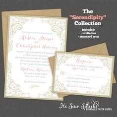 Printable Wedding Invitation  Serendipity by HeSawSparks on Etsy, $25.00