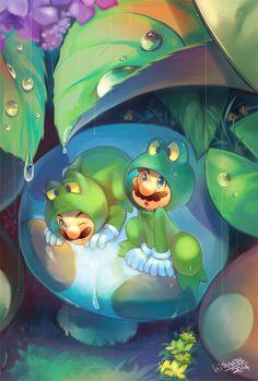 Frog Mario and Luigi