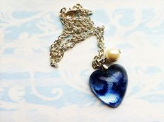 Blue Lace Resin Necklace Resin Pendant Resin by lowelowejewelry, $20.00