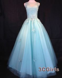 Pretty poofy prom dresses, long ball gown, modest sky blue tulle round neck evening dress for teens http://www.3cgirls.com/#!product/prd1/4266718765/pretty-sky-blue-tulle-round-neck-long-ball-gown #promdress