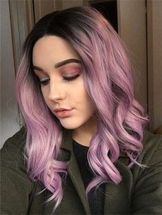 Short Ash Pink Ombre Bob Synthetic Lace Front Wig – wigslong - All For Hair Color Trending Best Ombre Hair, Brown Ombre Hair, Ash Blonde Hair, Ombre Hair Color, Hair Color Balayage, Hair Colour, Ash Hair, Pink Color, Curly Hair Styles