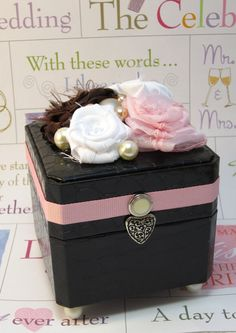 Wedding Ring Box - Upcycled Proposal Ring Box or Ring Bearer's Box - Pink, Chocolate Brown, White with Pearls and Vintage Button Accents #dental #poker
