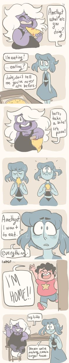 a quick silly comic but i want lapis to eat as much as amethyst and i want them to make gross combinations of foods and party and enjoy every minute of it - mushroomstairs Amethyst Steven Universe, Steven Universe Comic, Lapidot, Universe Art, Universe Images, Cartoon Network, Adventure Time, Cartoons, Planets