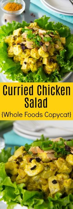 This Curried Chicken Salad Recipe is loaded with roasted chicken, mango chutney, currants, green onions, toasted almonds and comes really close to the Whole Foods original.