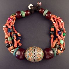 Old Berber tagemout necklace. This is an spectacular berber necklace from the Western Anti-Atlas in Morrocco, with different kind of beads, all of them very significant for berber culture because of their prophilactic and protective meanings. Amber Necklace, Tribal Necklace, Amber Jewelry, Tribal Jewelry, Beaded Jewelry, Beaded Necklace, Beaded Bracelets, Handmade Jewelry, Ancient Jewelry